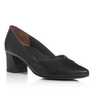 Paul Green Brandy Black Leather Block-Heel Pump